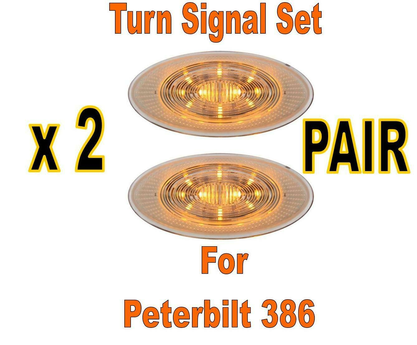 Amber 10 Led Peterbilt Oval Front Fender Turn Signal Light Clear Lens
