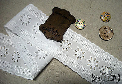 "1y Broderie Anglaise cotton Eyelet lace trim 2.2"" white YH1478 laceking2013"