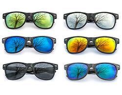 Sonnenbrillen Nerdbrille verspiegelt Brille Schwarz Silber Gold Blau