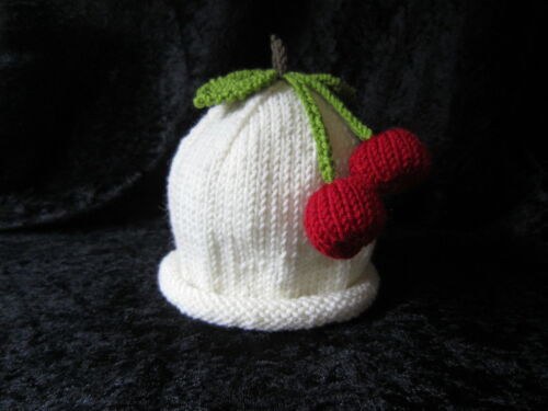 Hand Knitted Cashmere /& Wool Cherry Fruit Baby Hats 0-24 months