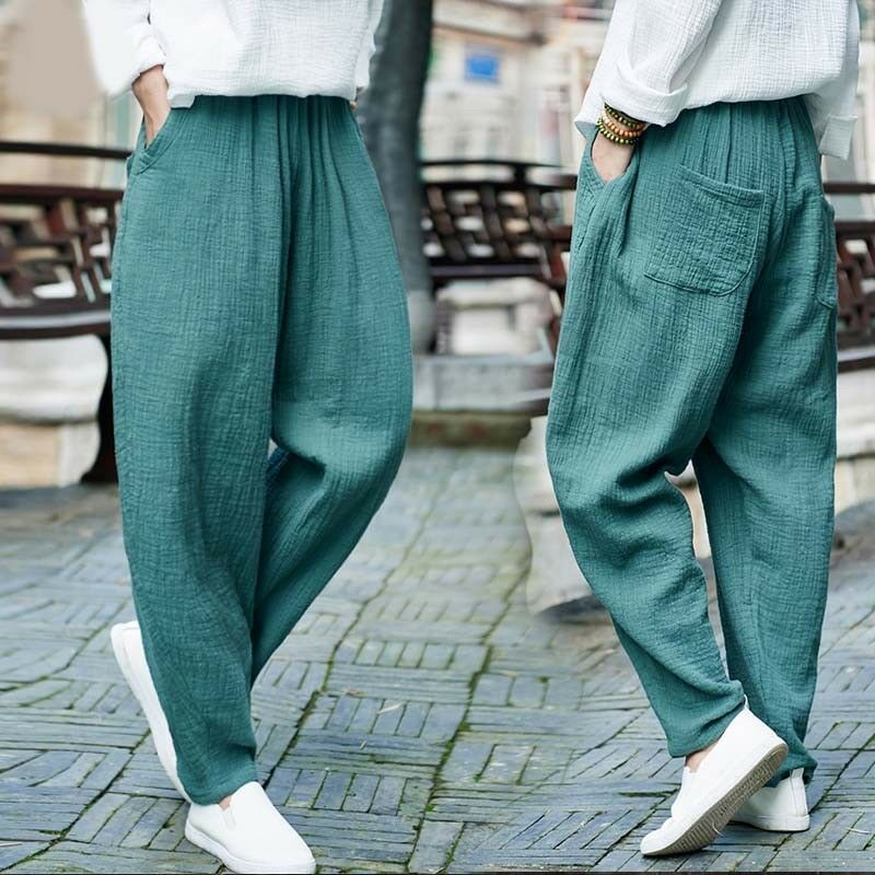 New Womens Harem Pants Loose Fit Cotton Linen Yoga Trousers Casual Leisure Pants