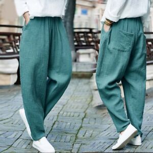 f493d84a9620 New Womens Harem Pants Loose Fit Cotton Linen Yoga Trousers Casual ...