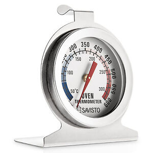 savisto stainless steel oven thermometer temperature gauge for pizza aga cooker ebay. Black Bedroom Furniture Sets. Home Design Ideas