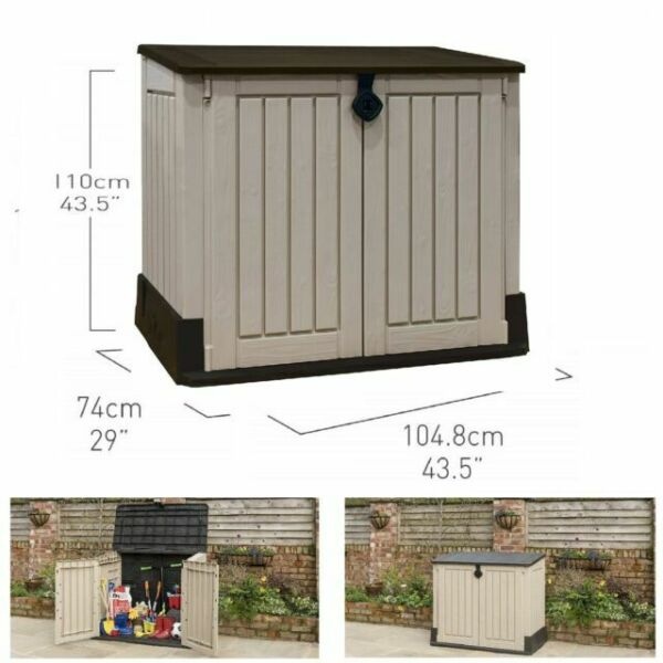 Keter Store It Out Midi Outdoor Plastic Garden Storage Shed 130 x 74 x 110 cm Black and Grey