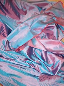 Turquoise-Blue-red-Tow-Tone-Coloured-Habotai-Silk-Lining-Fabric-44-034-Width