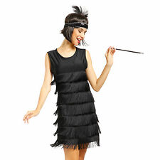 Flapper Women Dancing Dress Roaring 20s Gatsby Charleston Carnival Costume Black