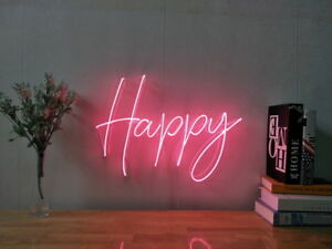 Image Is Loading New Happy Neon Sign For Bedroom Wall Art