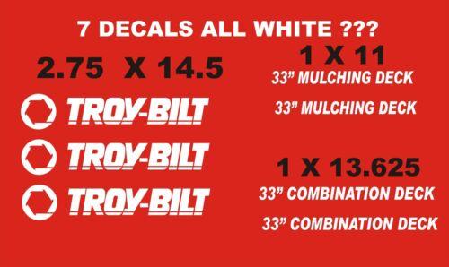 """33/"""" MULCHING DECK TROY-BILT VINYL DECALS  WHITE 7 33/""""COMBINATION"""