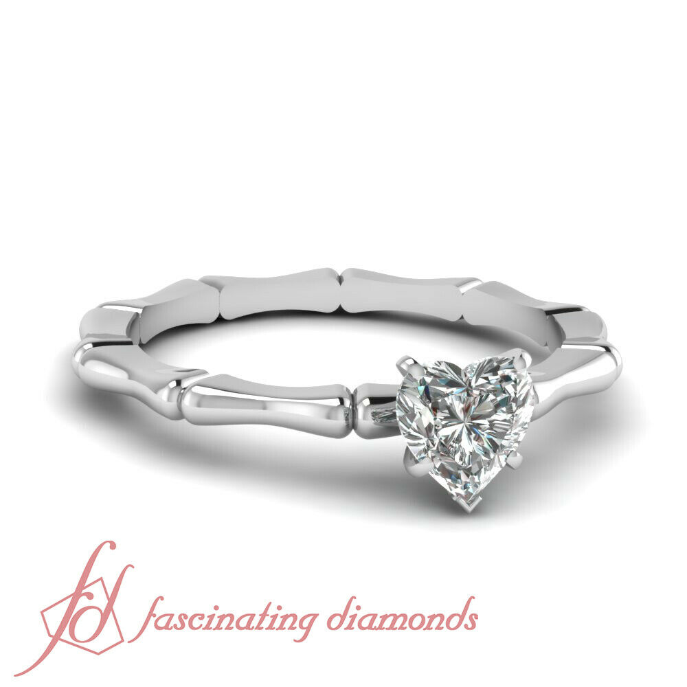 Heart Shaped G-color Diamond Solitaire Bone Design Bar Engagement Ring 0.35 Ct