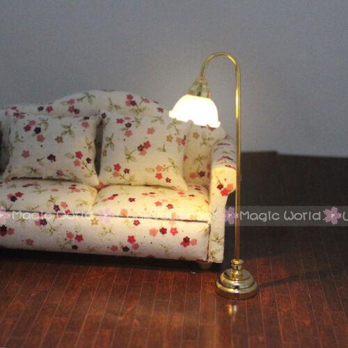 Floor Standard Lamp Reading Light w// Switch 3V Battery Dollhouse Miniature 1:12