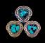 10X Blume Gravie Silber Heart Türkis Conchos für Gürtel Leathercraft Handtasche