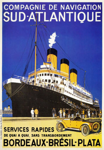 TX212 Vintage Sud Atlantique French Shipping Cruise Travel Poster Re-Print A2//A3