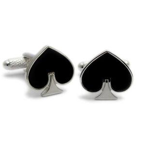 Ace-of-Spades-Cufflinks-by-Onyx-Art-Poker-Bridge-New-Boxed-CK292