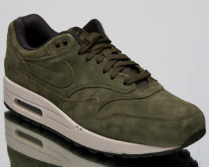 Nike-Air-Max-1-Premium-Men-039-s-New-Olive-Canvas-Casual-Lifestyle-Shoes-875844-301