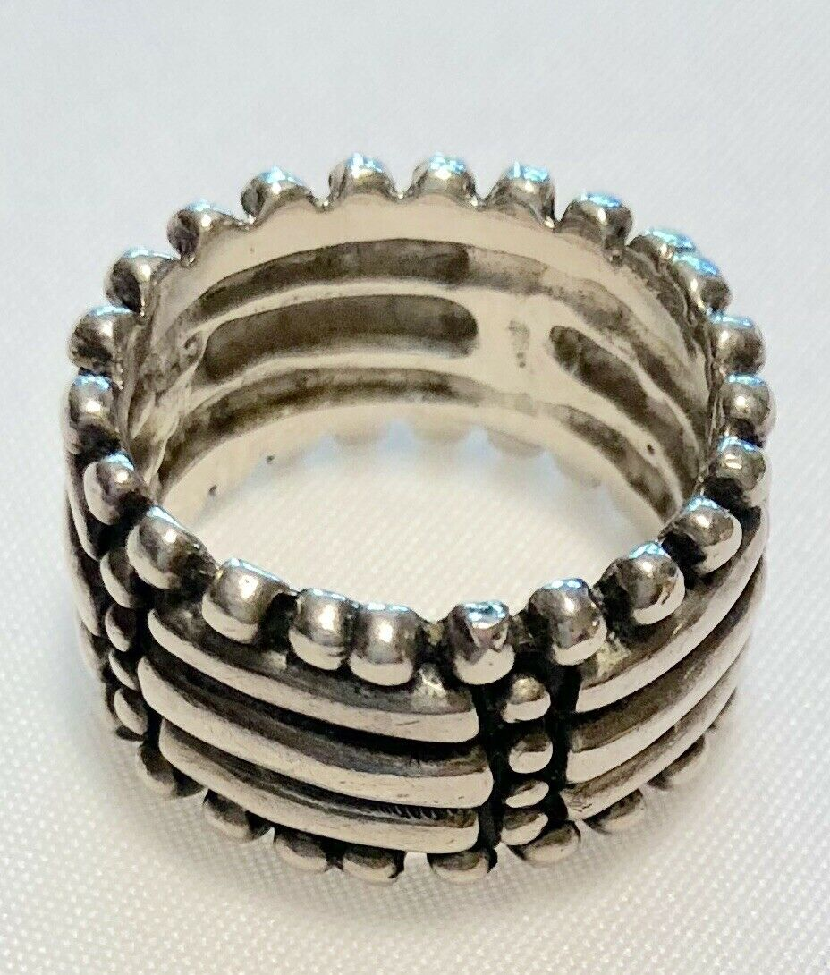 Vintage Sterling silver Raised Relief eternity wedding band ring 8 Jewelry **Rl
