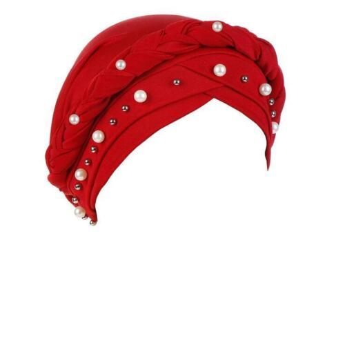 Indian Women Beads Turban Scarf Hijab Hair Loss Cover Chemo Cap Muslim Head Wrap