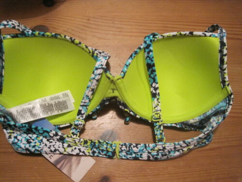 NWT M/&S SWIMWEAR UNDERWIRED //PADDED //MOULDED CUPS //PLUNGE BIKINI TOP SIZES 32B/&D