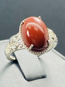 D'Joy Sterling Silver Carnelian Cabochon Gemstone Ring G859
