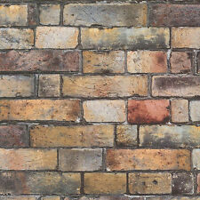 Urban Living Multi-Coloured Vinyl Brick Wallpaper