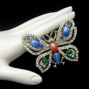 Vintage-Rhinestone-Butterfly-Brooch-Pin-Mid-Century-Large-Glass-Stones-Blue-Red