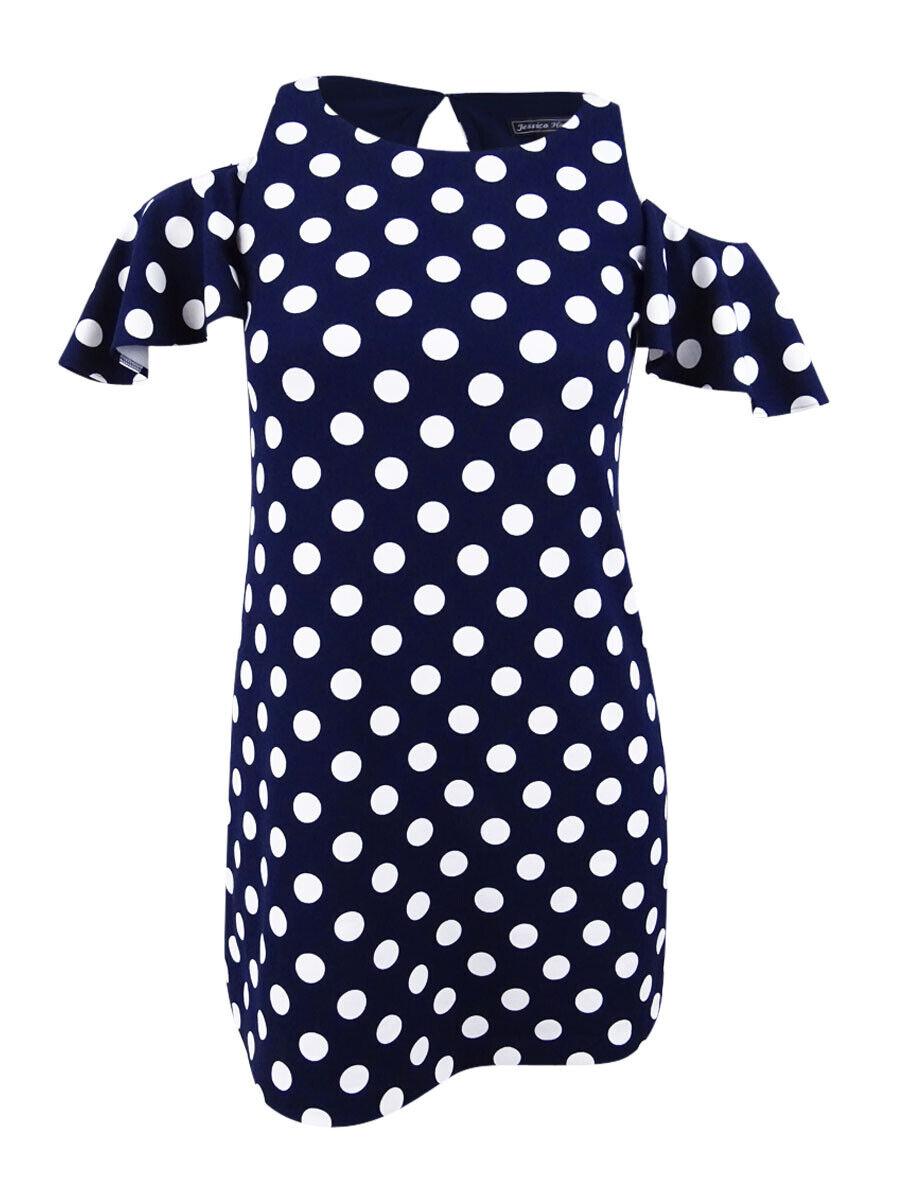 Jessica Howard Woherren Petite Cold-Shoulder Polka Dot Dress