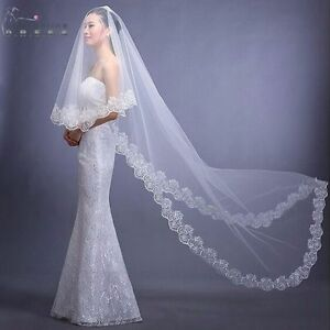 Cathedral-Length-Lace-Edge-Bride-Wedding-Bridal-Veil-Long-Trails-Accessories