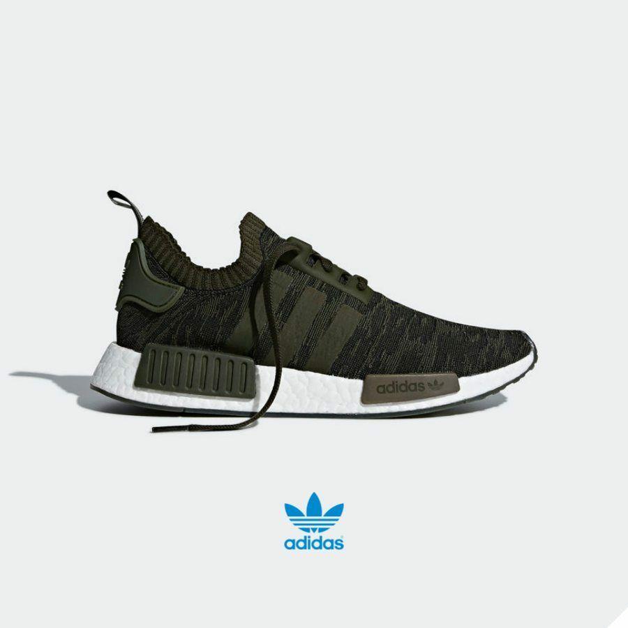 Adidas NMD R1 PK Running Shoes Athletic Sneaker CQ2445 Khaki Green White Sz4-12