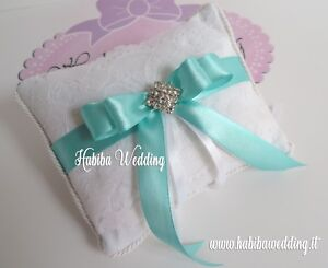 Cuscini Color Tiffany.Cuscino Porta Fedi Realizzato A Mano Tiffany Strass Matrimonio
