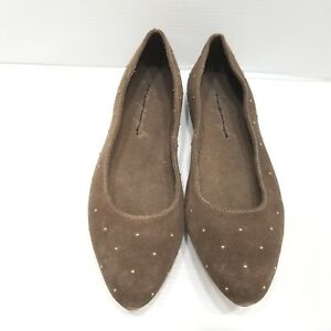 7046c51addf Free People Taupe Brown Suede Studded Ballet Flats Size 41  US 10 ...