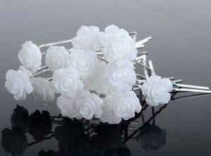1 Epingle A Chignons Fleur Blanche Bijou De Cheveux Mariage Ebay