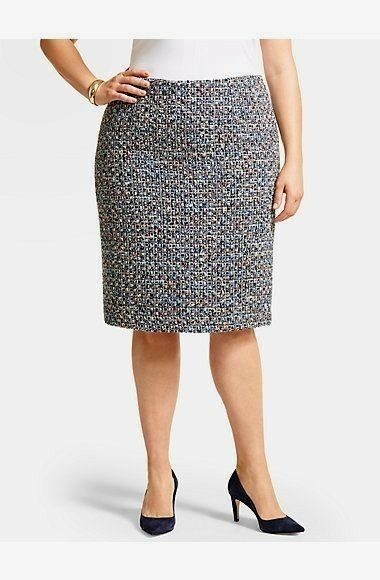 NEW  TALBOTS bluee Poppy Tweed Wool Blend Pencil Skirt Sz 20W