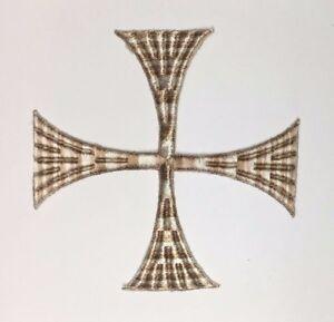 Vintage-Quadrato-Croce-Ricamato-da-Cucire-Misto-Beige-5-034-1-2-Emblema-Toppa-2-Pz