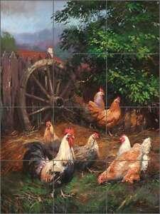 Ceramic-Tile-Mural-Backsplash-Mirkovich-Rooster-Chickens-Country-Life-Art-NMA034
