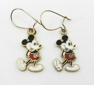 Vintage-Walt-Disney-Productions-Mickey-Mouse-Drop-Enamel-Earrings