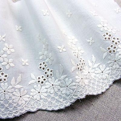 Cotton Eyelet Lace Trim 5.5 Inch(14cm) WD  White doll dress 1Yard