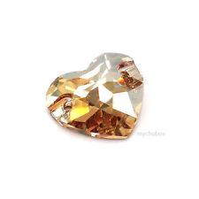 2 pcs Swarovski 3259 Heart Sew-on Stones 16mm CRYSTAL GOLDEN SHADOW (001 GSHA)