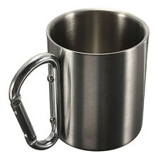 Stainless Steel Outdoor Camping Cup Carabiner Handle Double Wall Mug 220ml, US