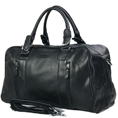 Genuine Black Soft Leather Men's HandBags travel tote duffle gym shoulder bags