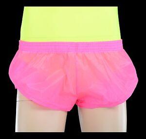 Mens See Through FluroYellow Nylon Mesh Sprinter Shorts Aussie Made Running