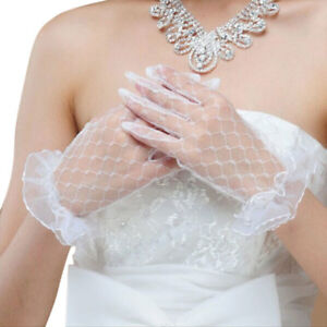 White-Bridal-Wedding-Short-Gloves-Full-Fingered-Lace-Trim-Wrist-Length-Mittens