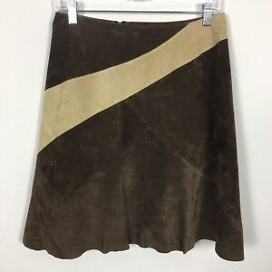 Clothes By Revue Skirt Suede Size 4 Color Block Brown Tan Retro Diagonal Lined