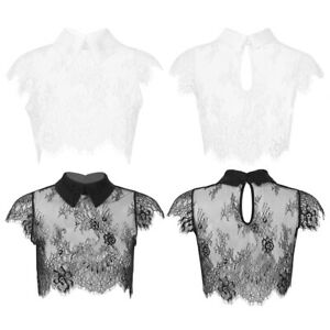 Women's Detachable Lace See Through Sheer Lace Fake Collar Blouse Crop Top M-XL