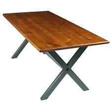 Rustic Country Pine Trestle Leg Kitchen Farmhouse Dining Table Green Farrow Ball