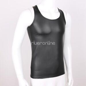 Herren-Rundhals-Armellos-Unterhemden-Tanktop-Leder-Achselhemd-Clubwear-Schwarz
