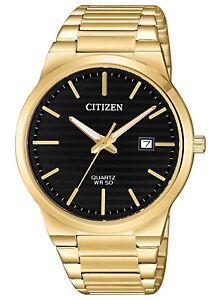 Citizen-BI5062-55E-Men-039-s-Quartz-Gold-Tone-Black-Dial-Casual-Analog-Date-Watch