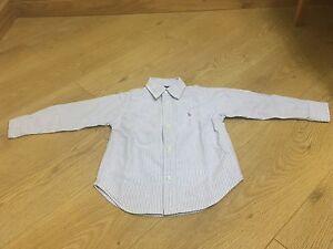 Baby Ralph Lauren Blanc Rayé En Coton à Manches Longues Shirt Top Age 2 Ans-afficher Le Titre D'origine