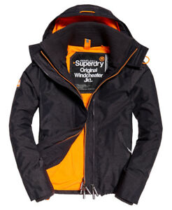 New Mens Superdry Pop Zip Hooded Arctic Sd-Windcheater Charcoal Marl/Fluro