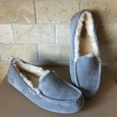 Ugg Ansley Light Grey Gray Suede Moccasins Slippers Shoes