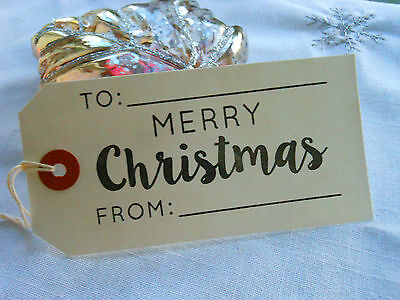 10 White Merry Christmas To From Gift Tags Handmade Vintage Style