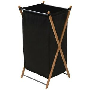 Image Is Loading New Dirty Clothes Basket Wood Laundry Hamper Bag